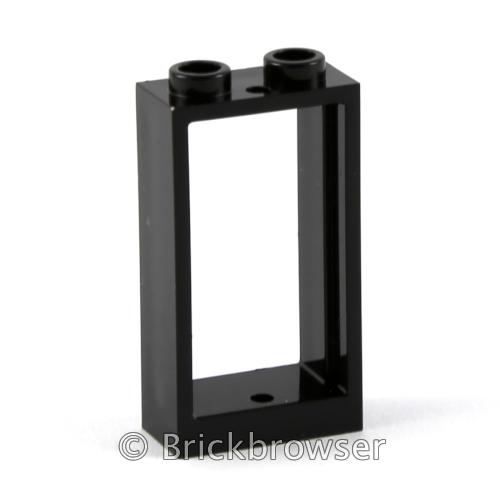 LEGO Vrac 10 x Fenêtre Noir 1 x 2 x 2 Black Window with Glass Neuf